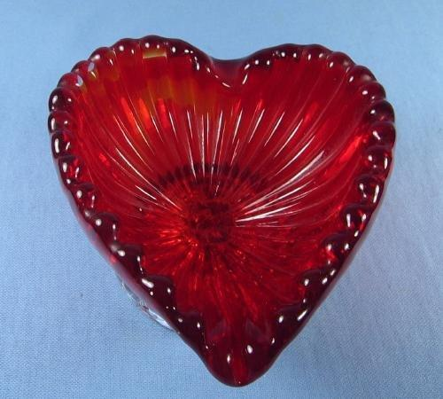 ITALIAN  ART GLASS   Red HEART Shaped Art Glass Dish