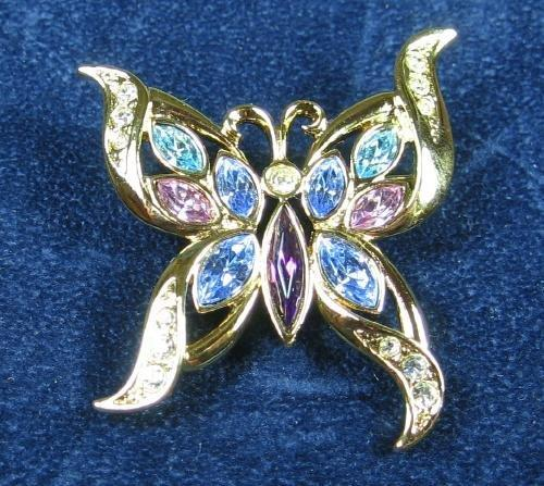 Jewelry  Soft Blue Purple and Pink Rhinestone BUTTERFLY Brooch - Vintage Costume Jewelry