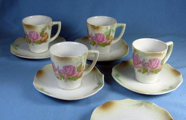 German Porcelain LUSTRE Luster DEMI Cup & Saucer Group