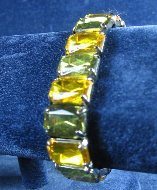 Vintage Faceted Smokey Green & Amber Rhinestone Bracelet - Estate Jewelry