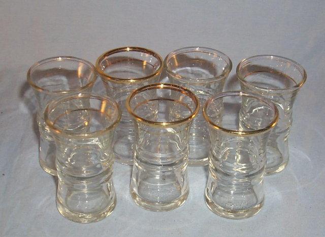 Seven Clear Gold Trim Shot Glasses Glass