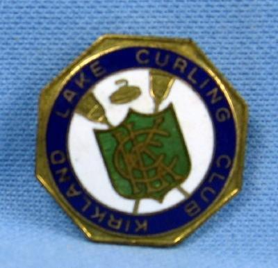 old KIRKLAND LAKE Curling Club -  Sports Medal Pin - Antique Sporting