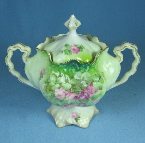 RS Prussia Pedestal Covered Sugar Bowl - Vintage CABBAGE Mold