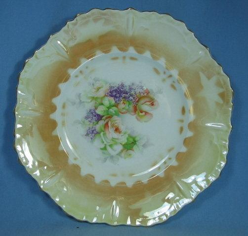 Hand Painted German Lustre Luster Decorator Plate - Antique Porcelain