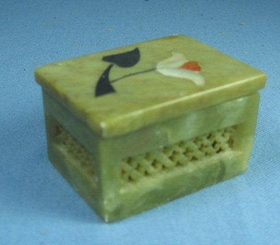Soap Stone  Hand Carved MOP Inlaid Soapstone Covered Box - Vanity Collectible