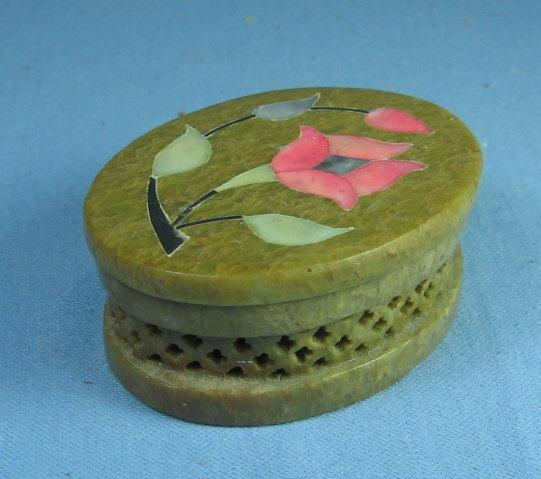 Soap Stone  Carved MOP Inlaid Soapstone Oval Covered Box - Vanity Collectible