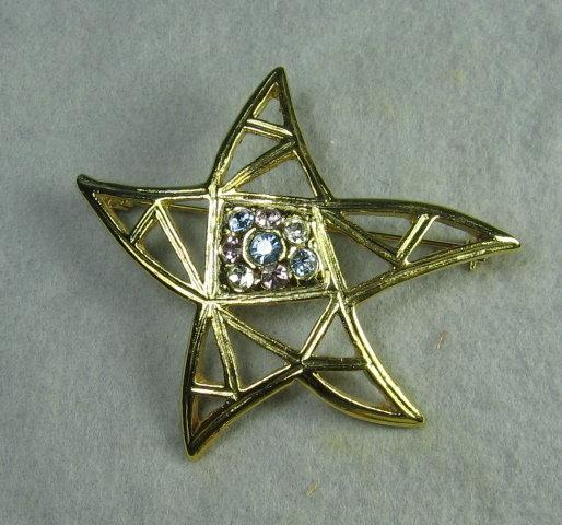 Goldtone STAR with Multi-Color Rhinestones Brooch Pin - Estate Costume Jewelry