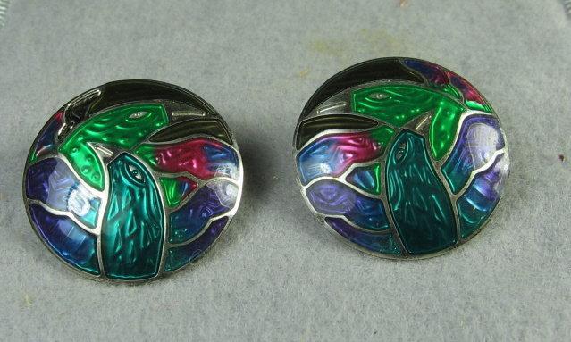 Jewelry Signed Berebi LOVE BIRD Enameled Earrings  - Vintage Estate Jewelry
