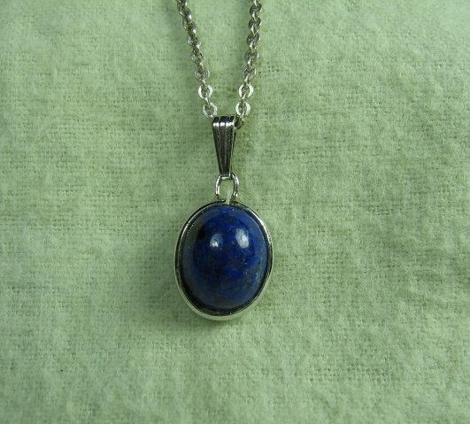 Lapis & White Gold Pendant Necklace - Vintage Estate Jewelry