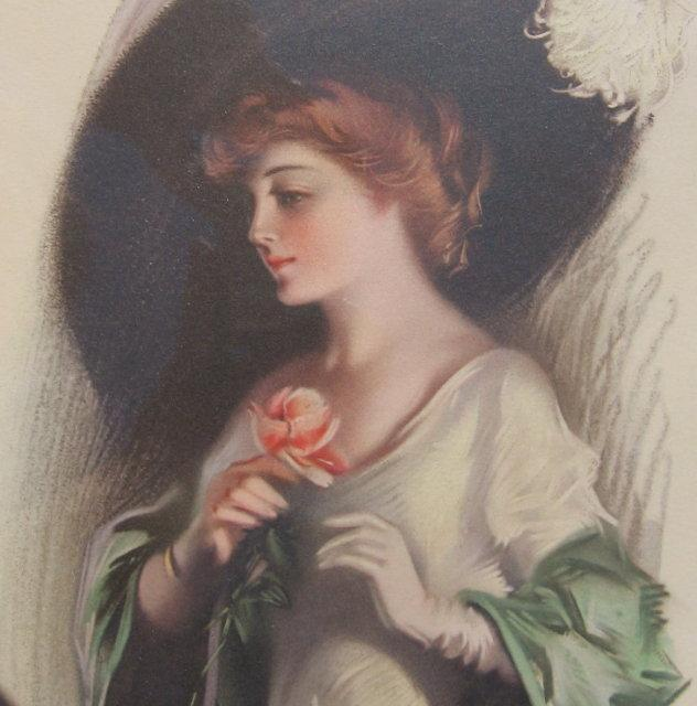 FAIREST FLOWER ~ Frank Desch Pastel GIBSON Girl with Hat - Antique Framed Painting