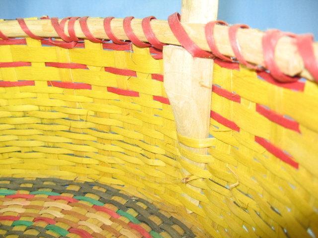 1930's Handled Basket Splint Ash Wood ~ Native American Indian Woven Covered Basket  - Antique Ethnographic