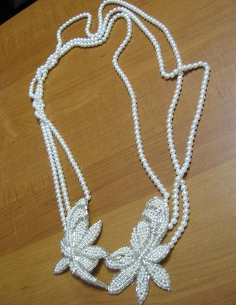 Costume Jewelry Opera Length Faux PEARL Necklace with Beaded FLOWERS - Vintage Costume Jewelry