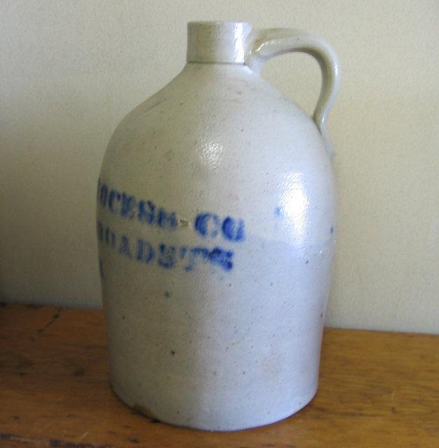 Saltglaze Blue ADVERTISING 3 gallon Jug - THE CUSHING PROCESS CO. BOSTON - Antique stoneware pottery