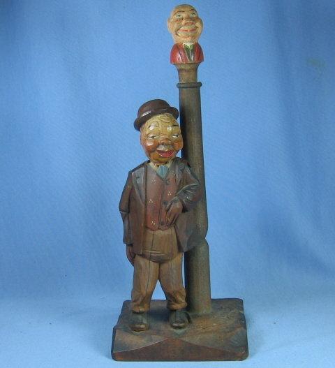 Anri Mechanical Corker Bottle Stopper - Antique Carved Wood  Folk Art