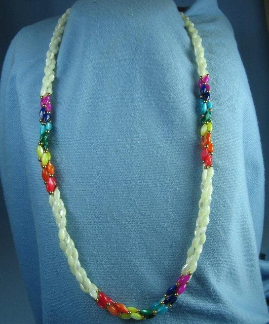 Twisted 3-strand MOTHER of PEARL Necklace   - Vintage Jewelry