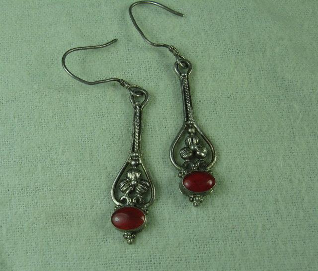Red CORAL Sterling EARRINGS  - Vintage  Estate Jewelry