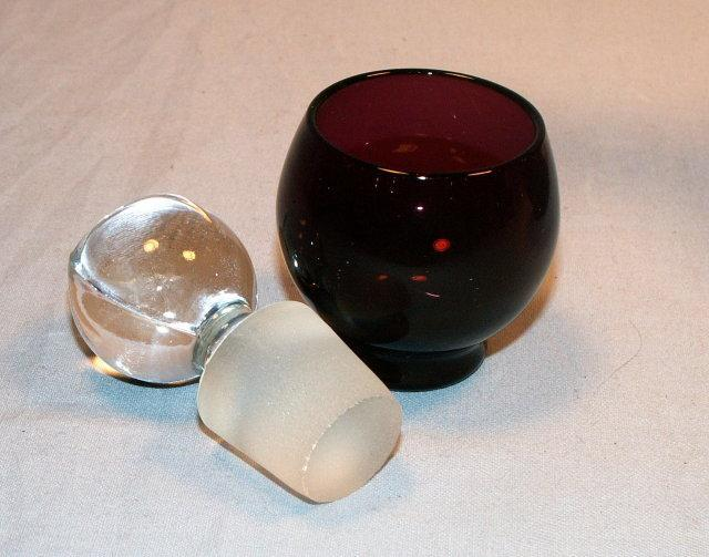Ten Piece CAMBRIDGE Amethyst Liqueor Glass Dispenser Set