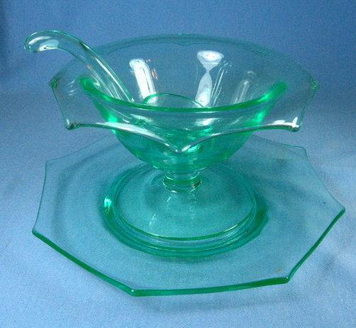 Vaseline Glass 3pc Condiment Mayo Set - Elegant Depression Glass