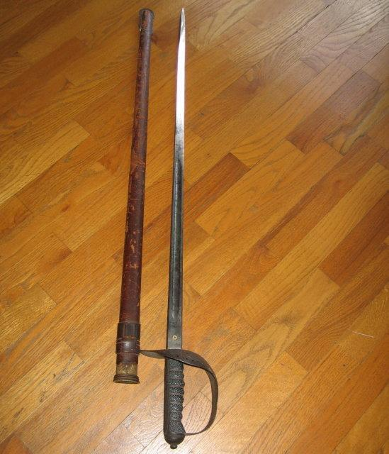 Wilkinson Pall Mall SWORD with Wood &  Leather Scabbard- Military Weapon