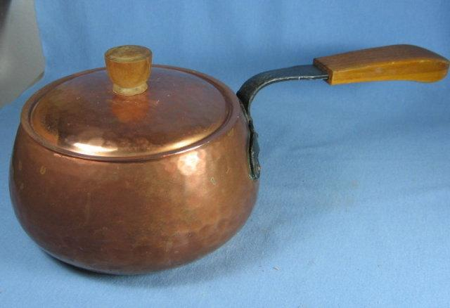 SWISS Hammered Copper SAUCE POT w/Wrought Iron & Wood Handle -
