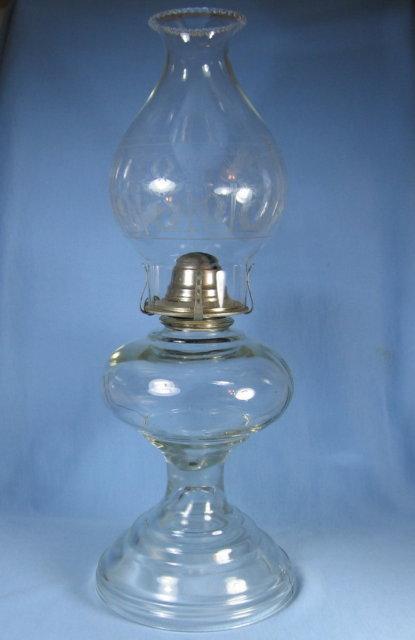 Vintage Estate Oil Lamp with Etched Glass Chimney - lighting