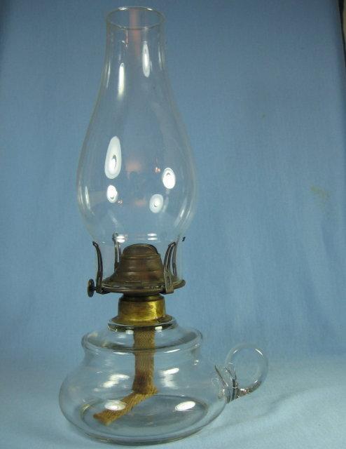 Pressed Glass Oil Lamp Glass Chimney - Vintage lighting