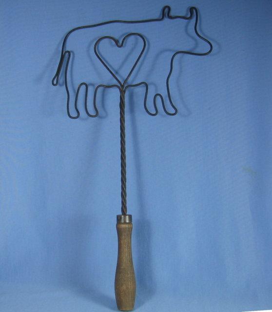 COW  Hand Wrought PILLOW FLUFFER Beater - Kitchen Metalware Tool