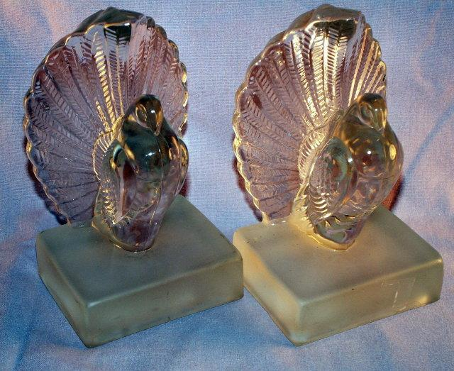 Clear PIGEON  Indiana Glass Bookends