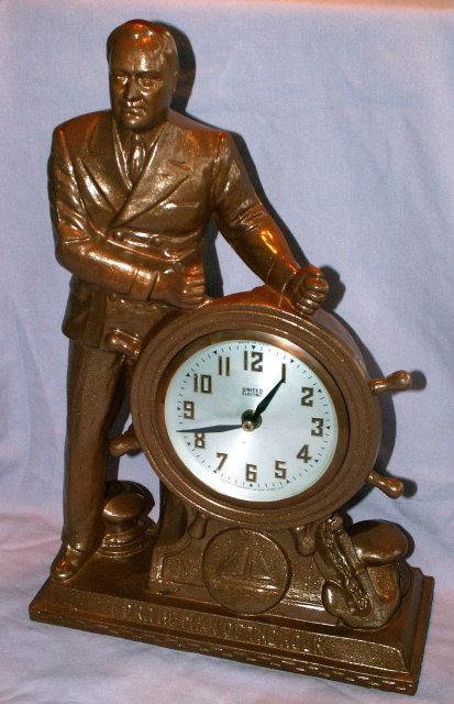 Franklin D. Roosevelt Mantle Clock - Metalware