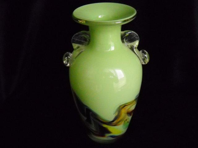 Glass vase swirls of colors