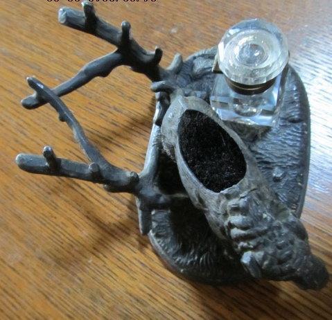 Figural Wild Boar Inkwell Ink Well - Metalware