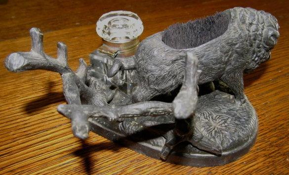 Wild Boar Inkwell Ink Well - Metalware