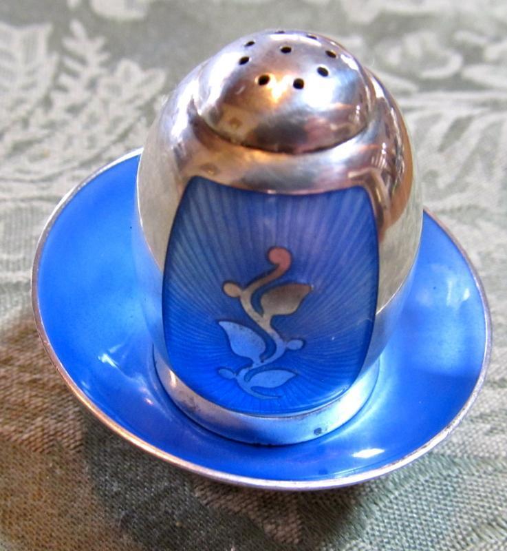 Enameled Sterling Salt/Pepper - Silver