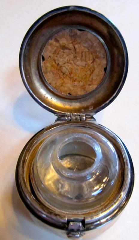 Sterling Silver TRAVEL Inkwell Ink Well - Silver