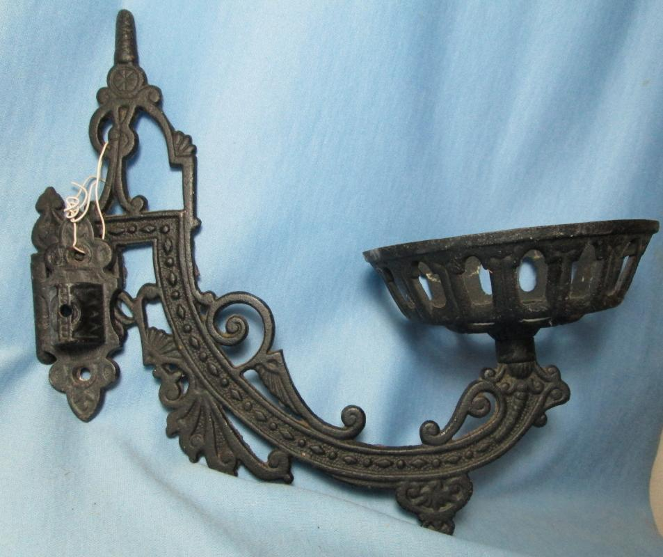 Victorian Oil Lamp Hanging Wall Bracket Antique Cast Iron