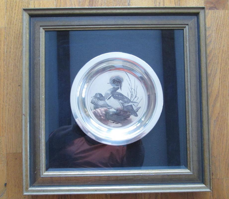 Audubon Society WOOD DUCK Plate ~ Framed Sterling Silver Plate