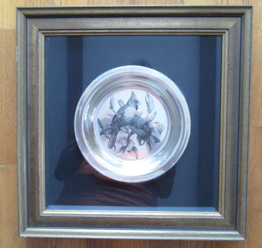 Audubon Society THE CARDINAL Plate ~ Framed Sterling Silver Plate