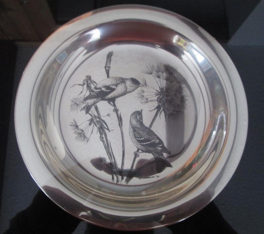 Audubon Society THE GOLDFINCH Plate ~ Framed Sterling Silver Plate