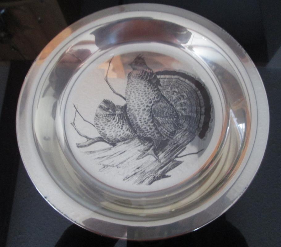 Audubon Society THE RUFFLED GROUSE Plate ~ Framed Sterling Silver Plate