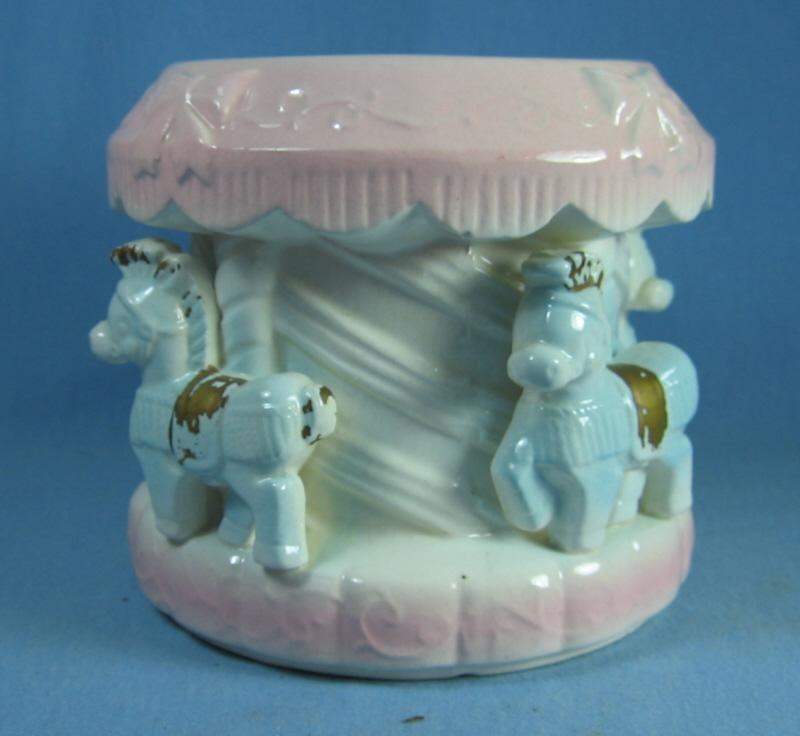 Vintage Nursery BABY PLANTER - Pottery Carrousel Horse - vintage pottery