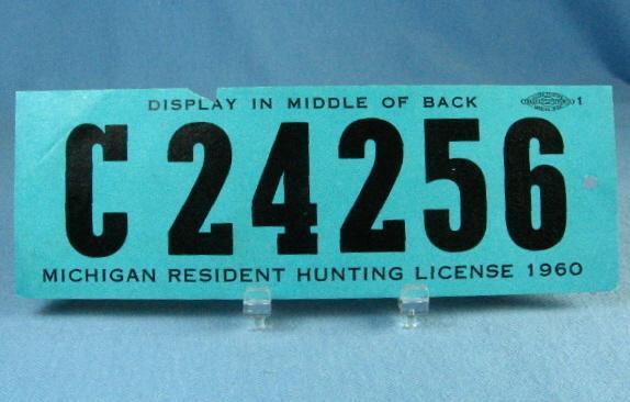 1960 Michigan Resident HUNTING License - Sporting