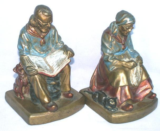 Armor DARBY AND JOAN Bronze Clad Polychrome Bookends - Misc.