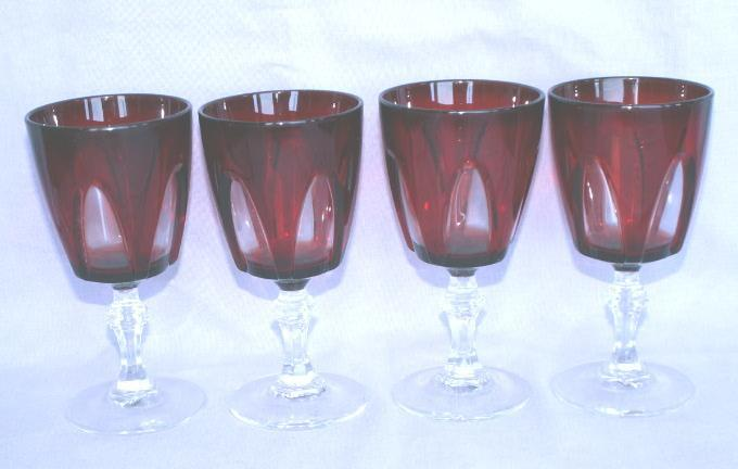 Four French Stemmed Pigeon Blood Cordial Glasses- Glass