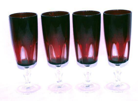 Four French Stemmed Pigeon Blood Wine Glasses- Glass
