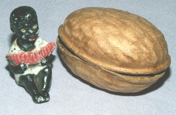 Black Boy Eating Watermelon in a Walnut - Ethnographic