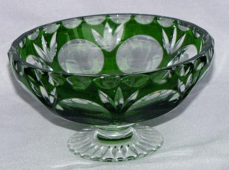Emerald Green Glass Cut to Clear Stemmed Compote