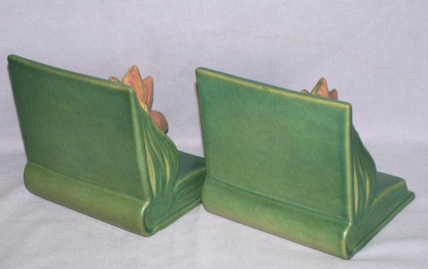 Roseville CLEMATIS Pottery Bookends