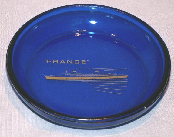FRANCE Passenger Ship Cobalt Glass Ashtray - Advertising