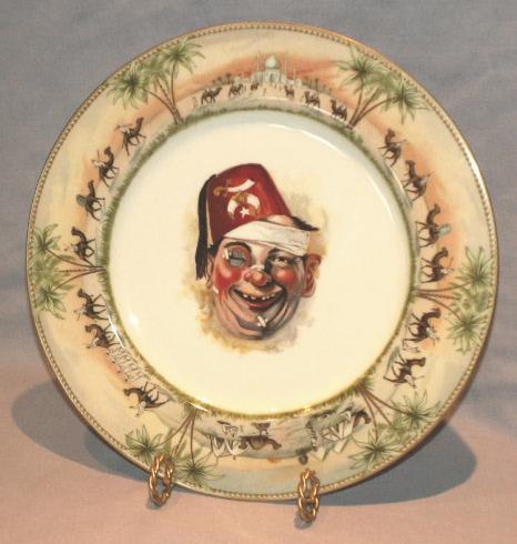 Comical Shriner CLOWN Masonic Freemason Porcelain Dinner Plate