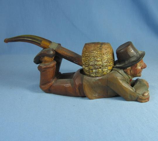 Anri Carved Man PIPE HOLDER - Antique Carved Wood  - Folk Art Tobacciana Collectible